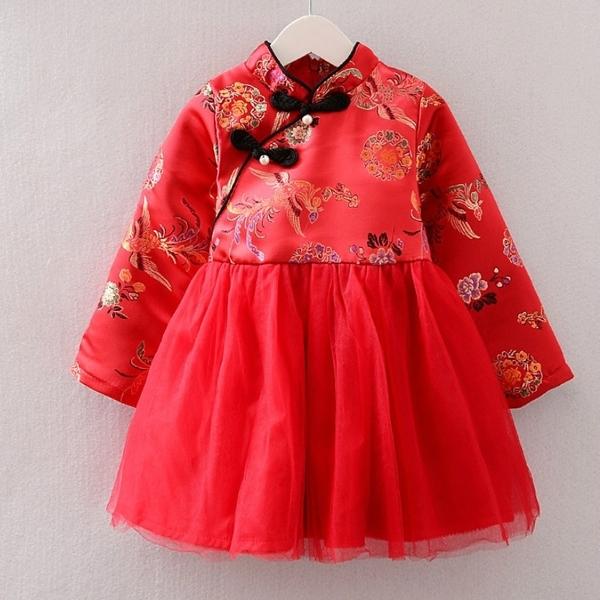 鳳凰印花珍珠中國結旗袍洋裝 連衣裙 旗袍裝 童裝 過年 唐裝 大紅 新衣 喜酒 女童 拜年服 新年