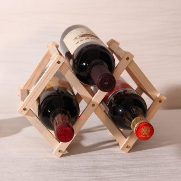 [拉拉百貨] 原木 3瓶裝 折疊紅酒架 簡易紅酒架 酒瓶架 收納架 居家酒瓶架