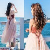 歐洲站海邊度假沙灘吊帶長裙超火超仙美網紗蓬蓬露背連身裙禮服女  Cocoa