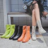 前拉鏈馬丁靴女英倫風春秋單靴ins網紅瘦瘦粗跟短靴 創時代3c館
