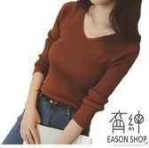 EASON SHOP(GW3272)韓版純色不敗款短版閨蜜裝小V領長袖毛衣螺紋針織衫T恤女上衣服彈力貼身內搭衫