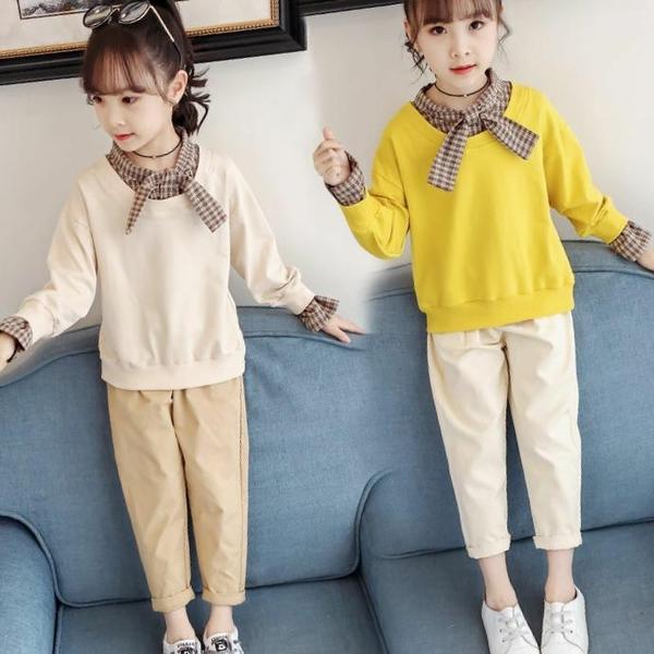 兒童套裝 網紅女童秋裝套裝2021新款兒童大童裝洋氣時髦韓版女孩衣服兩件套 歐歐