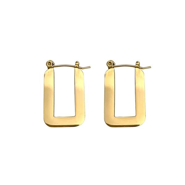 316L醫療鋼 厚款方形 耳環耳圈扣-金 防抗過敏