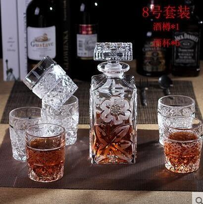 水晶洋酒杯酒具套裝葡萄酒具 創意威士忌杯玻璃醒酒器紅酒瓶酒樽