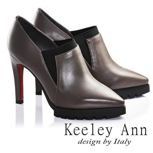 ★零碼出清★Keeley Ann引領風潮OL全真皮尖頭高跟踝靴(灰色)-Ann系列