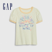 Gap女童棉質舒適圓領短袖T恤540440-金銀花淺黃