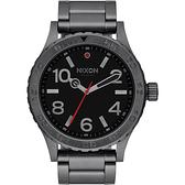 NIXON 46 品牌潮流躍動運動腕錶-灰框黑