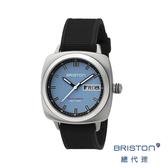 *BRISTON SPORT 天藍色錶盤 黑色矽膠錶帶 不銹鋼框 百搭實用 男士經典款 禮物首選