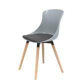 (組)特力屋萊特塑鋼椅-櫸木腳架40mm+灰椅背+灰座墊