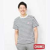 CHUMS 日本 男 Booby LOGO 短袖T恤 藍白條紋 CH011326W011
