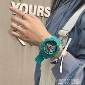 霧霾藍手錶男學生女錶ins風潮流簡約氣質數字式硅膠帶運動電子錶 poly girl