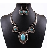 項鍊鍍銀+耳環-歐美復古綠松石時尚女毛衣鍊73nt47[時尚巴黎]