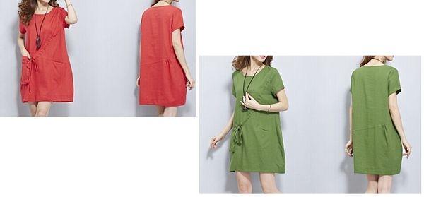 大碼棉麻連衣裙(四色/四碼可選)
