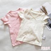 女童純棉短袖提花網眼女寶寶睡衣家居服T恤全棉薄款夏季