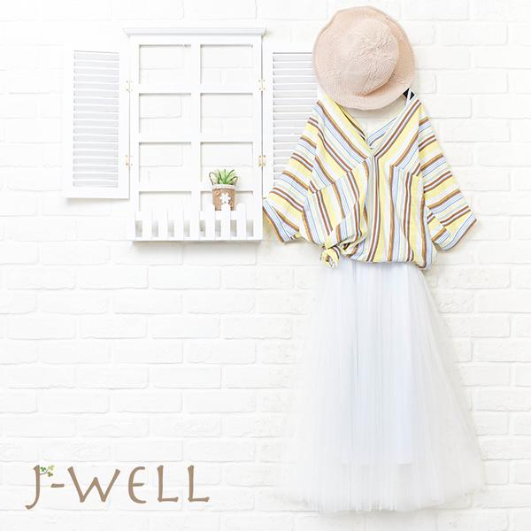 J-WELL 渡假感多彩條紋上衣內襯洋二件組 (組合921 8J1565黃+8J1311白)
