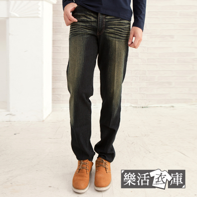 【P670-2】MIT波點繡線刷色伸縮中直筒牛仔褲(黑色)● 樂活衣庫