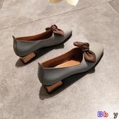 [貝貝居] 豆豆鞋 春方頭粗跟單鞋女淺口低跟復古風奶奶鞋軟皮舒適蝴蝶結小皮鞋