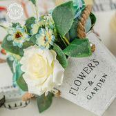 美式鐵藝假花仿真花客廳臥室玫瑰花套裝餐廳塑料花插花辦公桌擺件 森活雜貨