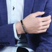 快樂購 編織皮手繩男士手鍊個性鈦鋼男手環