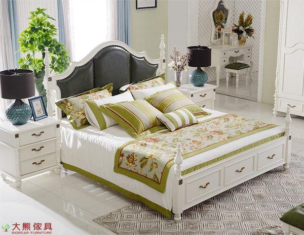【大熊傢俱】JIN 805 美式 雙人床 六尺床 床台 歐式床 床架 鄉村風 皮床 法式 北歐風 另售床頭櫃