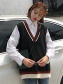 秋季2018新款韓版拼色寬鬆慵懶CHIC背心上衣百搭學院風馬甲女針織  莉卡嚴選