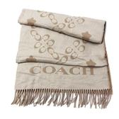 【COACH】C LOGO 混羊毛雙口袋厚圍巾(奶茶色)
