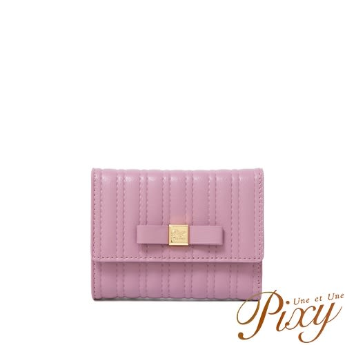 Pixy 任性微糖真皮短夾 野莓紫