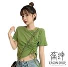 EASON SHOP(GW5881)實拍百搭短版露肚臍側邊拉皺綁繩圓領短袖T恤女上衣服彈力貼身內搭閨蜜裝素色棉T