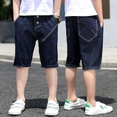 男童牛仔褲 夏季牛仔短褲中大童七分褲薄款潮中褲兒童五分褲子夏外穿夏裝【快速出貨】