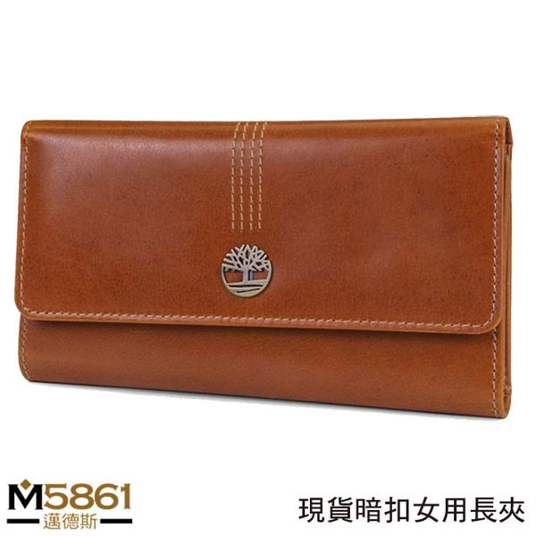 【Timberland】女皮夾 長夾 牛皮夾 上翻暗扣錢包 多卡夾+拉鍊零錢袋 手拿包/咖