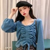 短款毛衣女復古港味學生秋冬韓版設計感抽繩外穿針織衫套頭上衣潮 雅楓居