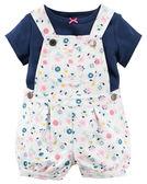 2件組短袖吊帶褲: 深藍小花: 121G878