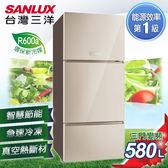 【SANLUX台灣三洋】560L 無邊框采晶玻璃四門變頻冰箱。星光銀/SR-C560DVG