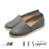 XES女鞋 樂福鞋 壓紋生活休閒鞋 舒適柔軟 EASY Q  懶人鞋 MIT製造 _氣質灰