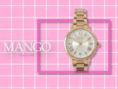 【時間道】MANGO時尚經典羅馬刻度日期腕錶 / 銀白面玫瑰金鋼帶 (MA6698L-80R)免運費