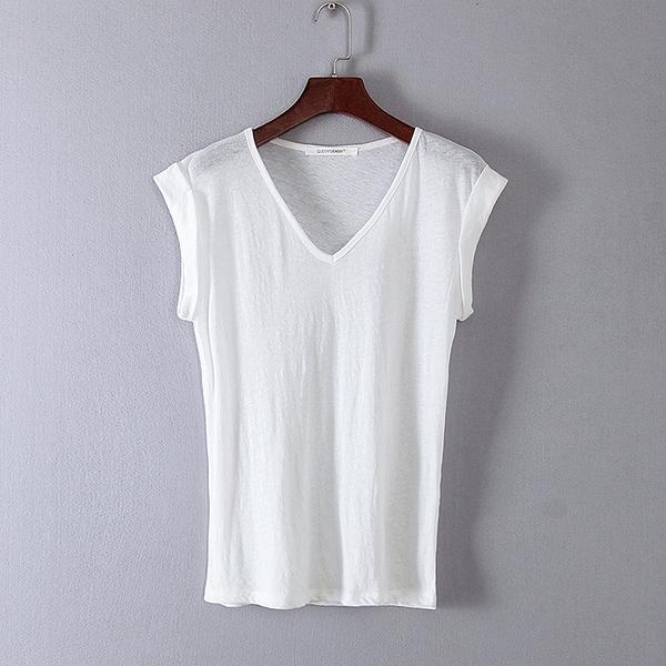 [超豐國際]娃春夏裝女裝白色純色簡約基礎款百搭T恤 3094(1入)