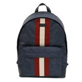 【台中米蘭站】全新品 BALLY Hingis 紅白織帶尼龍後背包(6215639-藍)