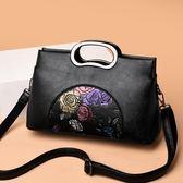 休閒包包女2019新款中年女包手提包百搭單肩包中國風大容量斜挎包