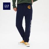 Gap男裝 logo抽繩鬆緊腰修身運動褲 492430-海軍藍
