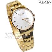 OBAKU 源自丹麥 風格簡約 永恆設計 珍珠螺貝面盤 金色 不銹鋼 女錶 V247LXGWSG