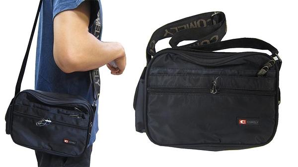 ~雪黛屋~COMELY 斜側包小容量防水尼龍布材質二層主袋+外袋共六層肩背斜側背隨身簡易包C2025