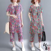 彩色涂鴉印花文藝復古棉麻短袖T 七分褲兩件時尚套 快速出貨