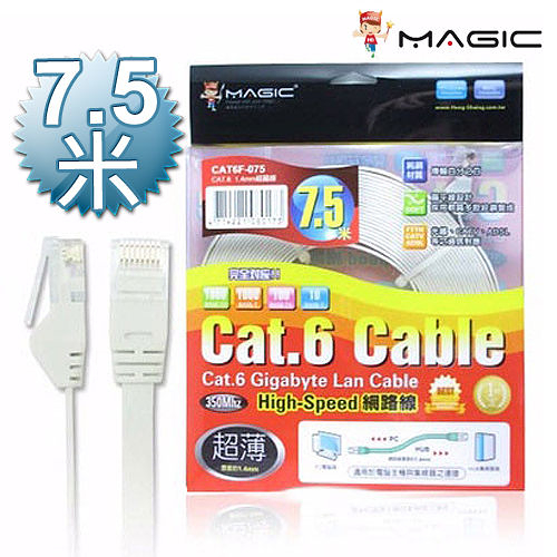 MAGIC 鴻象 Cat.6 Cat6 Hight-Speed 1.4mm 高速 超薄 網路線/扁線  - 7.5M CAT6F-075