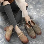 牛津鞋 春季新款布洛克中跟小皮鞋英倫復古學院風女鞋粗跟學生單鞋女 唯伊時尚