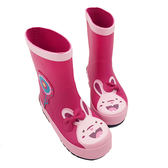 春季上新 兒童雨鞋女童寶寶卡通橡膠水靴防滑防臭不捂腳玫紅兔