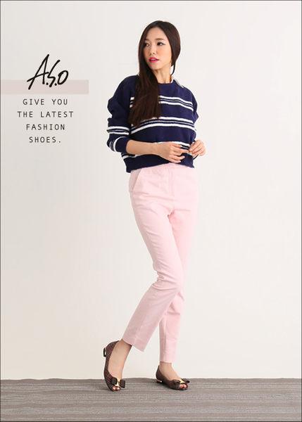 A.S.O 注目嬌點 格紋金屬織帶魚口跟鞋  咖啡