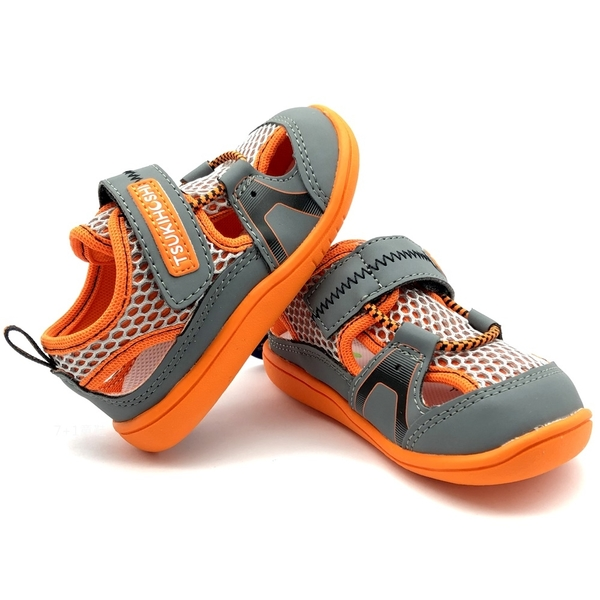 《7+1童鞋》小童 日本 MOONSTAR 月星 CARROT 透氣 魔鬼氈 機能鞋 涼鞋 C465 橘色