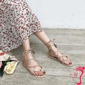 港味復古chic涼鞋女夏新款韓版系帶羅馬學生綁帶百搭平底女鞋