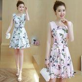 中大尺碼 無袖洋裝夏季新款韓版女裝小清新修身氣質收腰顯瘦無袖連衣裙 mc10436『男人範』