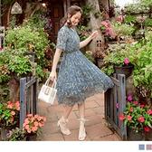 《DA8565-》V領浪漫柔美粉嫩花朵雪紡洋裝 OB嚴選
